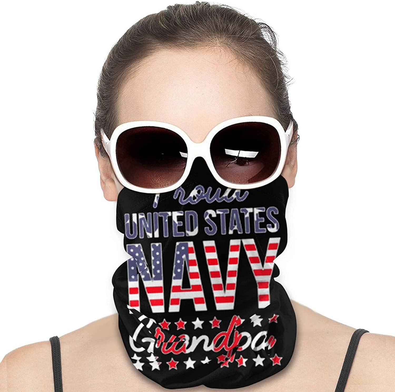 Proud Us Navy Grandpa Round Neck Gaiter Bandnas Face Cover Uv Protection Prevent bask in Ice Scarf Headbands Perfect for Motorcycle Cycling Running Festival Raves Outdoors