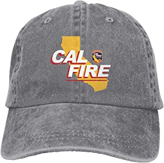 DIDACAP Cal Fire Logo Men Adjustable Washed Twill Low Profile Baseball Cap Dad Hat Gray
