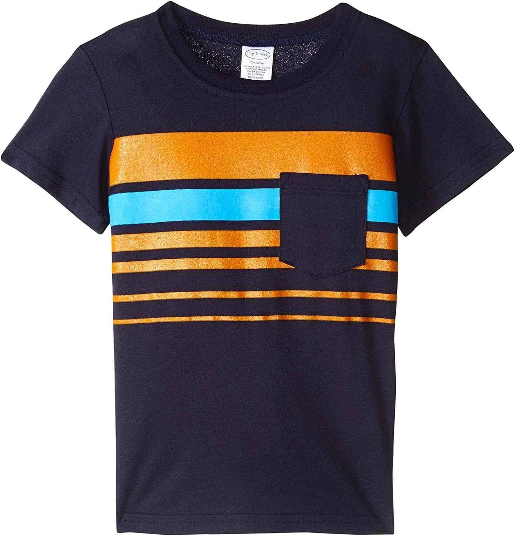 City Threads Boys' Printed Stripe Soft Jersey Pocket Tee, Infant