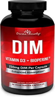 DIM Supplement 250mg with Vitamin D3 Plus BioPerine - Diindolylmethane Menopause Relief Estrogen Blocker, Hormone Balance for Women and Men, PCOS, Hormonal Acne & Hot Flashes - 90 Vegetarian Caps
