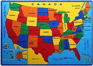 Kids Rug USA Map Area Rug 5' x 7' Children Area Rug for Playroom & Nursery - Non Skid Gel Backing (59