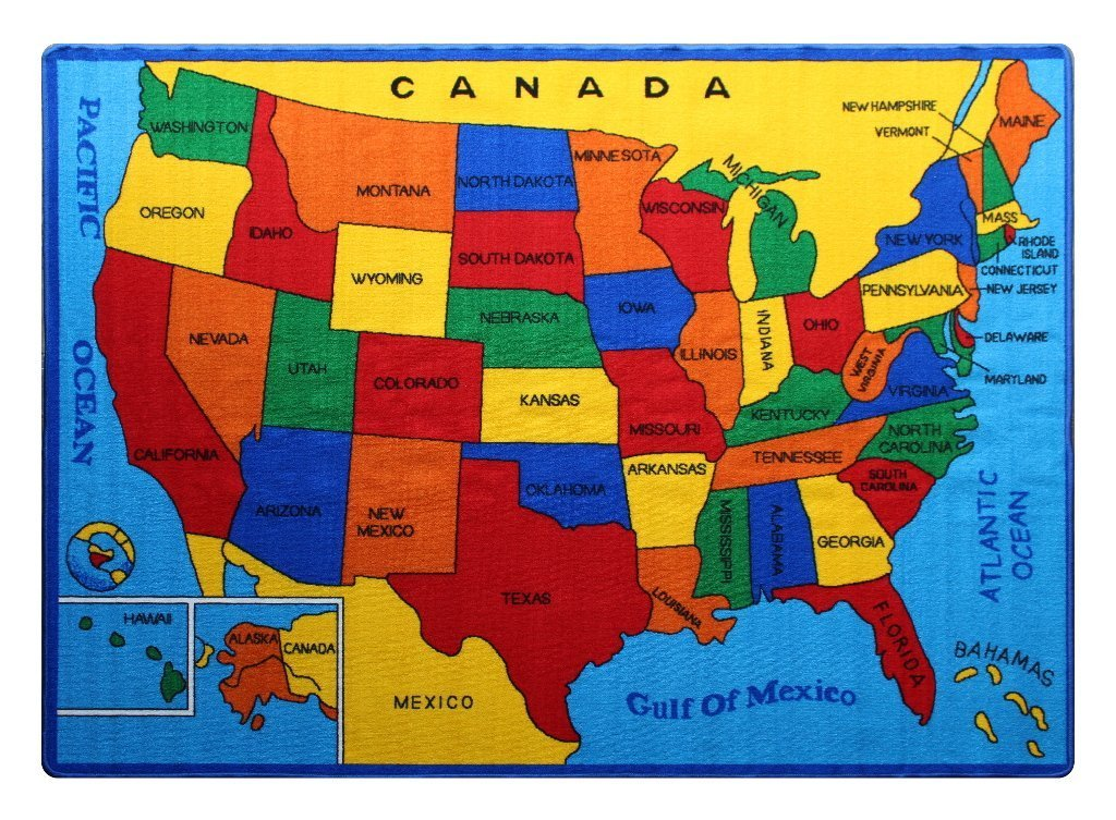 Non Slip Gel Backing Activity Centerpiece Play Mat Kids Rug Street Map Blue Area Rug 5x7 Approx : 411 X 6 10
