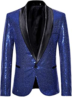 Mens Charm One Button Fit Formal Classic Blazer Wedding Party Sequins Jacket Suits Casual Luxury Vintage Retro Smart Elega...