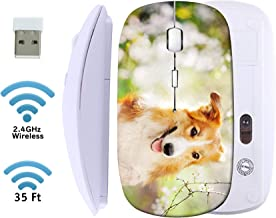 MSD Wireless Mouse 2.4G Travel Mice with USB Receiver, Noiseless and Silent Click with 1000 DPI for Notebook PC Laptop Computer MacBook White Base Border Collie Dog Portrait on a Background of White