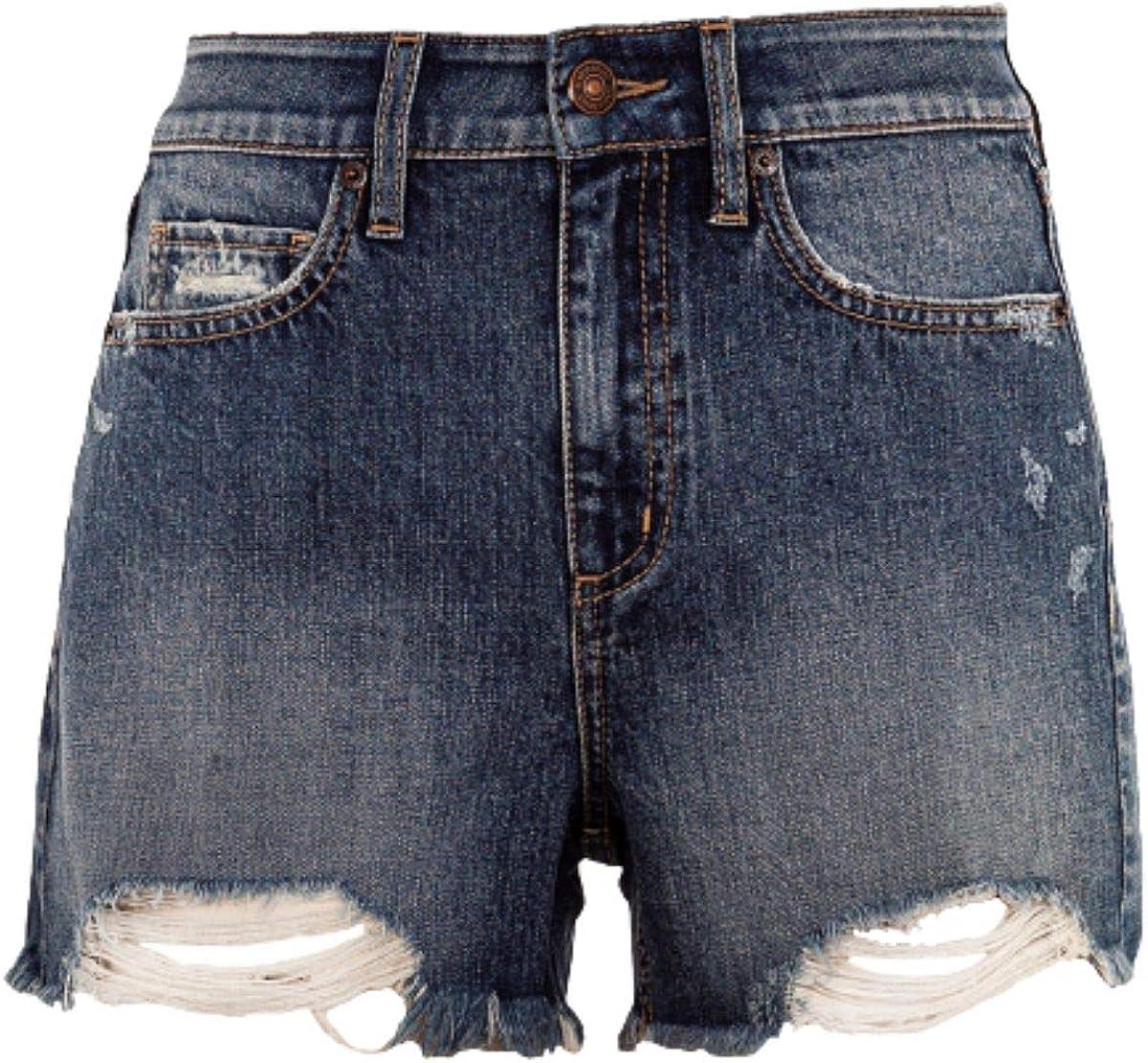 Rewash Juniors' Distressed High Rise Denim Shorts Size 7- Dark Blue