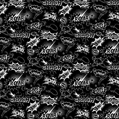 Crash Whoosh Ouch Comic palabras en blanco sobre fondo negro Comic tejido Comic Material Por metro–50cm x 110cm–palabras 20.5cm–5cm de largo Por Patrick sueltos 100% algodón de gran calidad. Para más de 1y tela se envía como pieza continu...