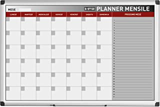 Bi-Office Planner Mensile In Italiano, Lavagna Magnetica Per Planning Mensile Cancellabile A Secco, 90 x 60 cm
