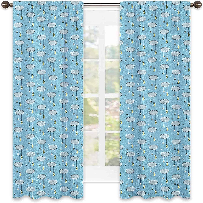 Moon Bedroom Memphis Mall Rod Regular dealer Pocket Blackout Style Curtain Moons an Cartoon