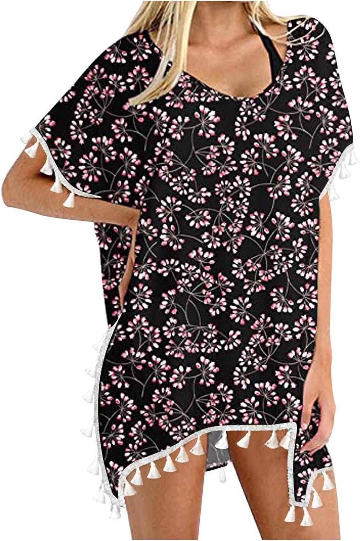 977 Womens Summer Clothing Chiffon Swimsuit Beach Bathing Suit Tassel Cover Ups Loose Tops Blouse for Bikini Swimwear