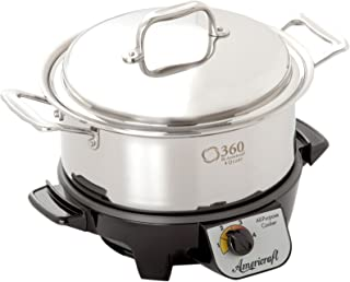 360 Stainless Steel Slow Cooker, 4 Quart Stock Pot is Induction Cookware, Waterless Cookware, Dishwasher Safe, Oven Safe, Surgical Grade Stainless Steel Cookware. Electric Slow Cooker Base Included.