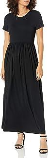 Amazon Essentials – Vestido largo de manga corta con cintura ceñida para mujer