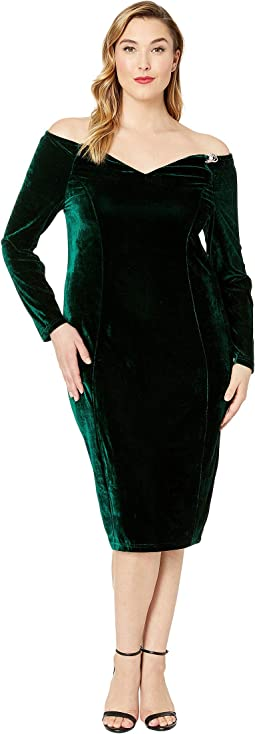 Plus Size 1960s Velvet Long Sleeved Cape Cod Wiggle Dress