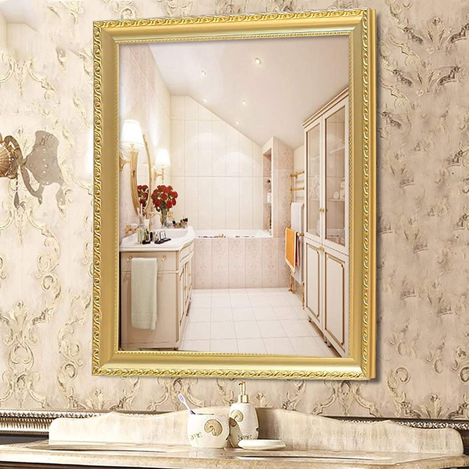 GAIXIA Bathroom Mirror Wall Mounted Vanity Mirror Washbasin Mirror Wall Mounted Beauty Salon Mirror Wall Mirror (color   Champagne color, Size   40x60cm)