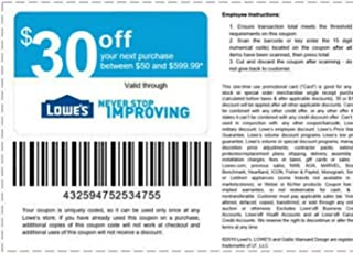 Lowe's 30 Off 50 Promo Code Coupon EMAIL Delivery Only - Coupon HAS an Expiration Date.- Store Only