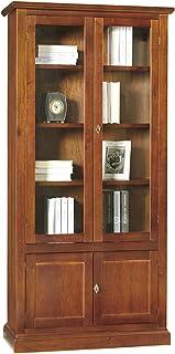 Lo Scrigno Arredamenti Libreria//Vetrina Arte Povera 3 Porte 3 Cassetti Tinta Noce W388//N
