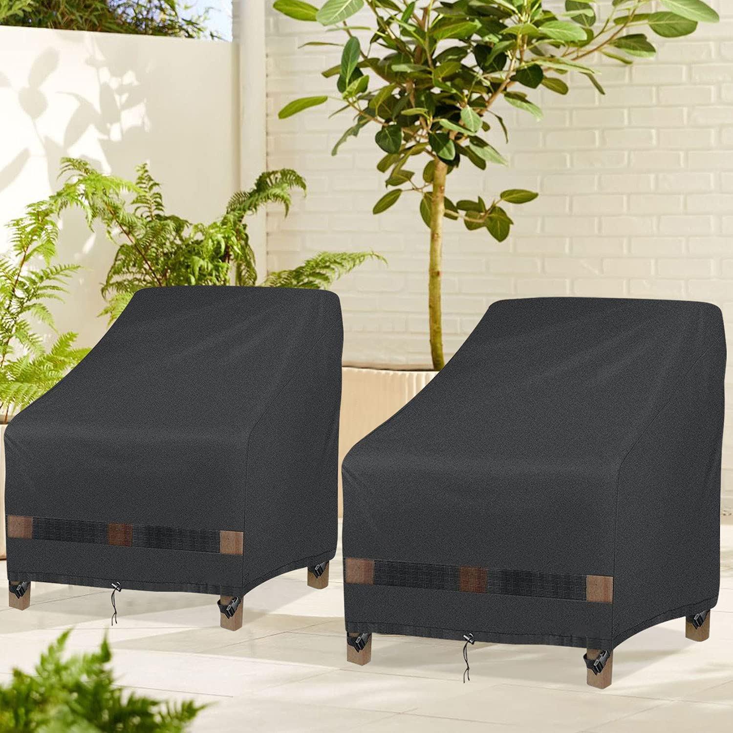 """GARDRIT Patio Chair Covers for Outdoor Furniture, 100% Waterproof Patio Furniture Covers, Durable 600D Oxford Polyester Anti-UV Outdoor Chair Covers 35"""" W x 38"""" D x 31"""" H, 2 Pack : Patio, Lawn & Garden"""