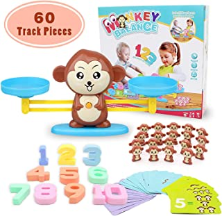 Seckton Monkey Balance Educational Toys for Toddlers Math Games Preschool Learning Toys for Kids Balance Board Math Teacher and Children Christmas Birthday Gifts