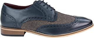 House Of Cavani Mens Leather Gatsby Brogues Tweed Lace Shoes 1920s Peaky Blinders Classic