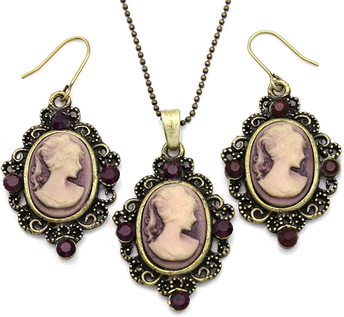 Soulbreezecollection Cameo Necklace Fashion Jewelry Set Pendant Charm Dangle Drop Earrings Gift for Women