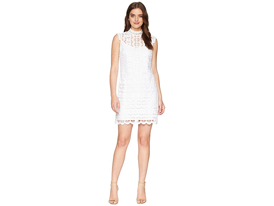 Laundry by Shelli Segal Mock Neck Venise Shift Dress (Optic White) Women