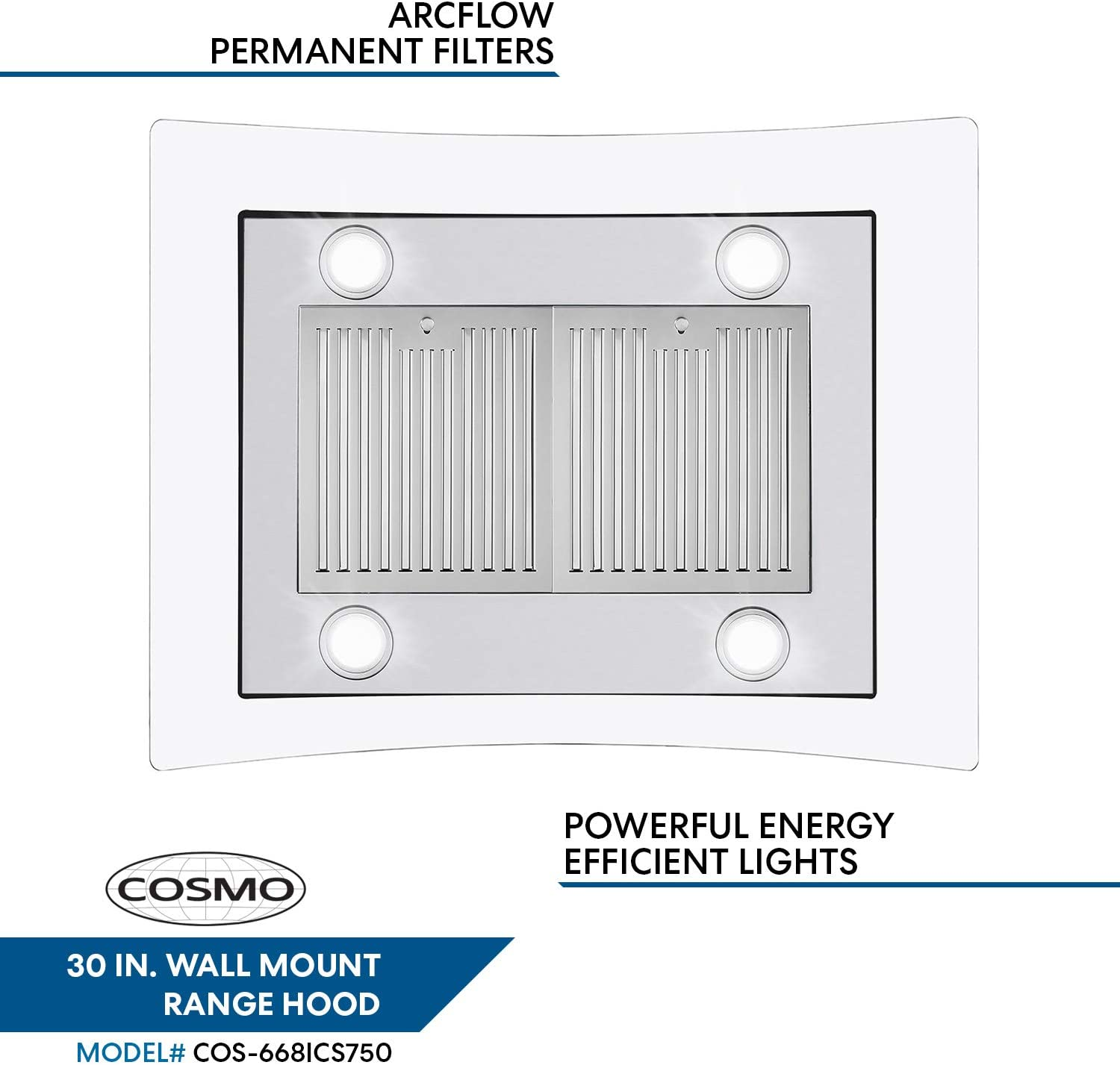 Cosmo 668ICS750 30 in. Island Mount Range Hood with 380 CFM, Soft Touch Controls, Permanent Filters, LED Lights, Tempered Glass Visor in Stainless Steel