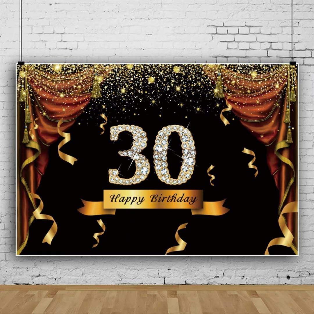 DaShan 14x10ft Glitter Gold Happy 30th Birthday Backdrop Drape Diamond Confetti Women Lady Birthday Photography Background Adult Birthday Party Celebration Cake Table Banner Photo Props