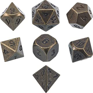 Frienda Zinc Alloy Metal Polyhedral 7-Die Dice Set for Dungeons and Dragons RPG Dice Gaming D&D Math Teaching, d20, d12, 2 Pieces d10 (00-90 and 0-9), d8, d6 and d4 (Ancient Bronze)