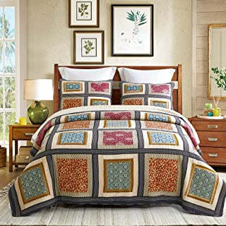 DECMAY 3 Piece Boho Real Patchwork 100% Cotton Bedspread King Size Vintage Plaid Floral Daybed Bedding Sets Light Weight Reversible Quilt Luxury Matelasse Bed Coverlet Set with Shams