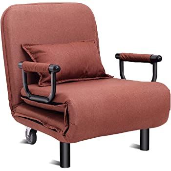 """Giantex 26.5"""" Convertible Sofa Bed Folding Arm Chair Sleeper Leisure Recliner Lounge Couch (Coffee)"""
