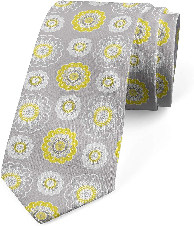 Ambesonne Men's Tie, Flowers Swirls, Necktie, 3.7