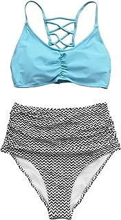 Women's Sky Blue and Chevron Print High Waisted Bikini