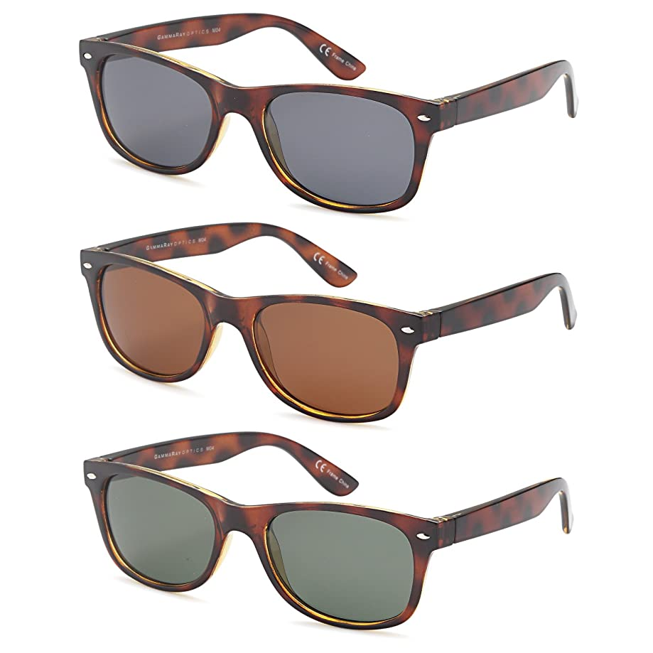 Gamma Ray Polarized Sunglasses 3 Pairs Color and Mirrored Sunglasses Lens Option