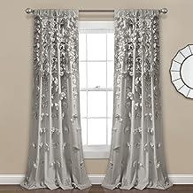 ستارة نافذة رايلي رمادي فاتح مكشكشة مزخرفة للمعيشة وغرفة الطعام وغرفة النوم (مفردة) من لاش ديكور، 84 × 54 انش