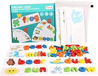 See and Spell Learning Toy Wooden Educational Developmental Toy Sight Words and Spelling Skills with 28 Double - Sided Cog...