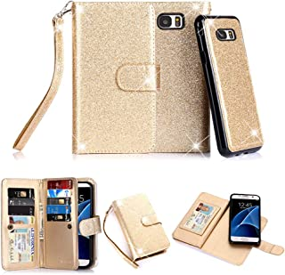 Galaxy S7 Case, TabPow 10 Card Slot - [ID Slot] Wallet Folio PU Leather Case Cover with Detachable Magnetic Hard Case for Samsung Galaxy S7 Case, Glitter Gold