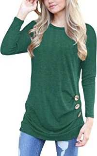 Womens Casual Long Sleeve Cowl Neck Button Down Tunic T Shirt Blouse Tops
