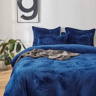 Uozzi Bedding Flannel Duvet Cover Set for Cold Weather Super Soft and Warm Reversible Fleece Solid Winter Blanket Double Usage(Navy,Queen)