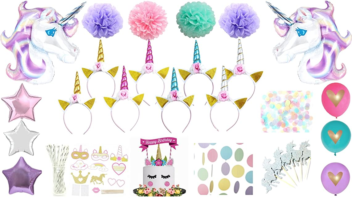 Unicorn Party Supplies Birthday Decorations Kit Headband Balloon Photo Booth Props Cake Cupcake Toppers Pastel Glitter Polka Dot Garland Gold Silver Pink Blue Pom Pompoms Giant Teal Violet Purple