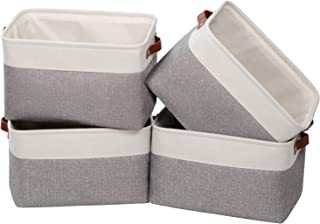 Univivi Rectangular Basket [4-Pack] Closet Bins with Handles Collapsible Organizer Bin for Towels Toys, Clothes Home Offic...