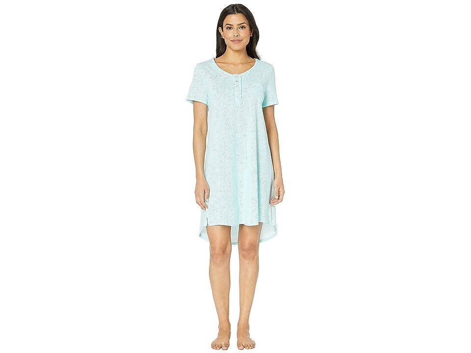 Carole Hochman Short Sleeve Key Item Sleepshirt (Aqua Geo) Women