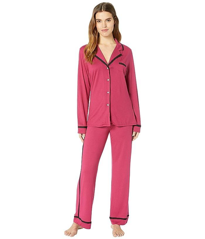 Cosabella Bella Amore Long Sleeve Top Pants PJ Set (Sugar Beets/Black) Women