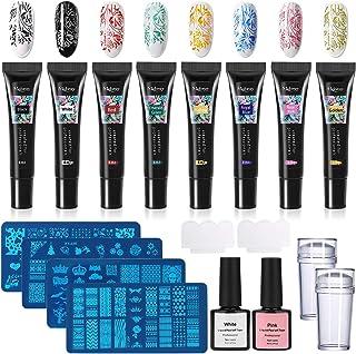 TopDirect 8ml Nail Stamping Gel Polish 8 colores con 4pcs Placas Estampacion Uñas para Manicura + 2pcs 8ml Látex Líquido +...