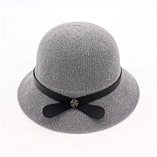 HongJie Hou Spring and Summer Women's Basin hat Dome Woven Straw hat Loose Sunscreen Visor Outdoor Travel Beach hat Sun hat (Color : Grey, Size : 56-58cm)