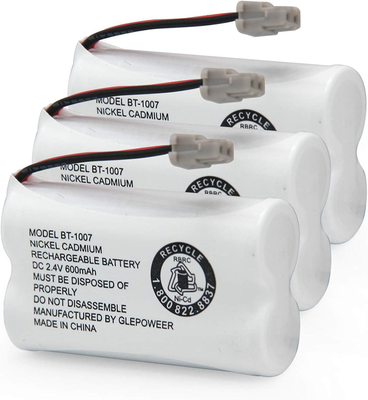 GLEPOWEER BT1007 BT-1007 BBTY0651101 Rechargeable Battery Compatible with BT904 BT-904 BT1015 BBTY0460001 BBTY0510001 BBTY0624001 BBTY0700001 HHR-P506 HHR-P506A Cordless Phone(3 Pack)