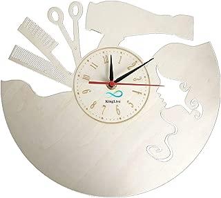 KingLive Hairdresser Hair Barber Salon Beauty Salon Wall Clock Made of Wood Home Wall Decor Art