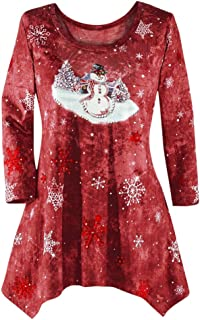 YOcheerful Women's Christmas Long Sleeve Shirt Holiday Tee Winter Top Blouse Plus Size Bar Party Shirt Jumper Tunic (B-Wine,US-L/Label-XL)
