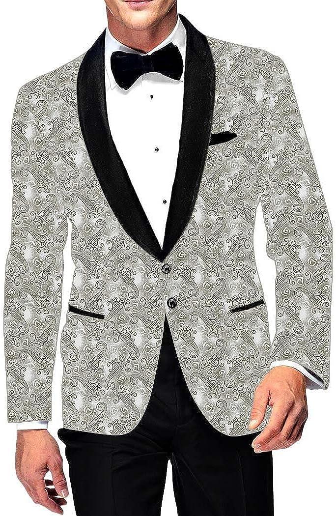 INMONARCH Mens Slim fit Casual Cream Cotton Blazer Sport Jacket Coat Paisley Designs SB15267XL54 54 X-Long Cream
