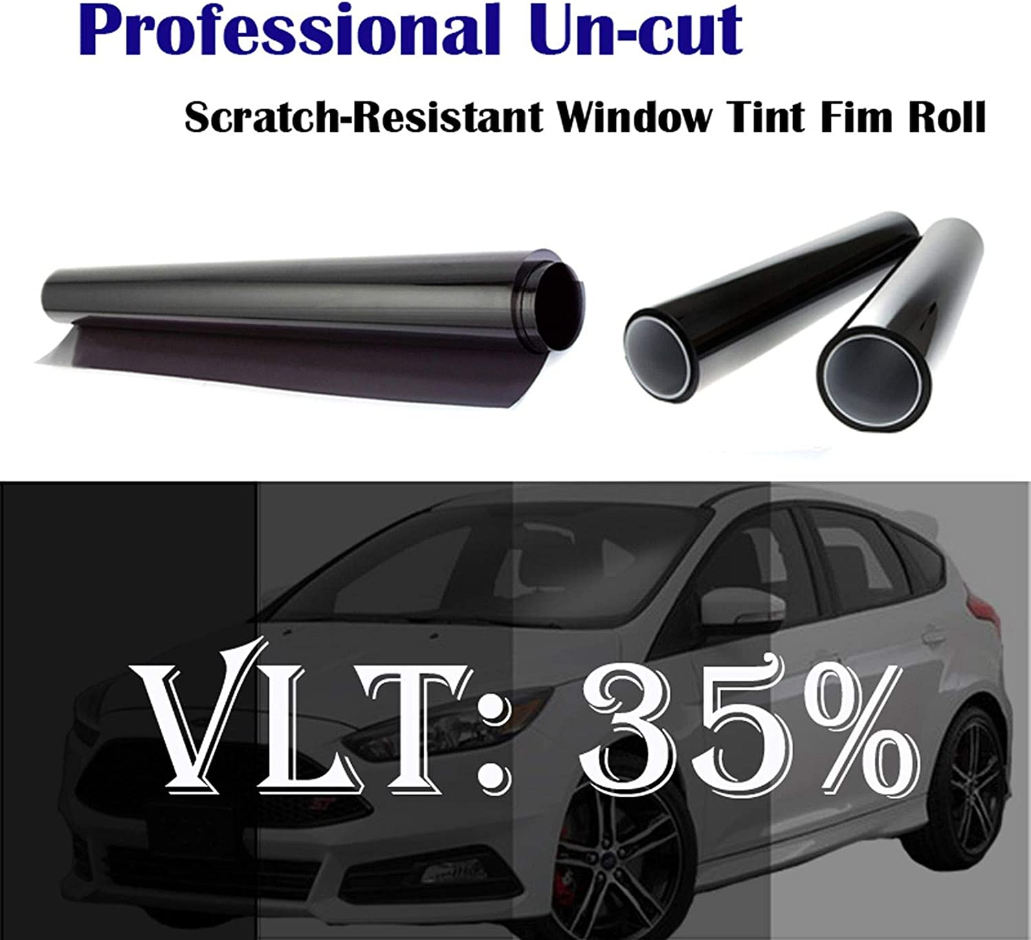 20in x 60in Mkbrother 35/% VLT 20 in x 5 Ft Heat /& UV Block Professional Window Tint Adhesive Film Auto Car