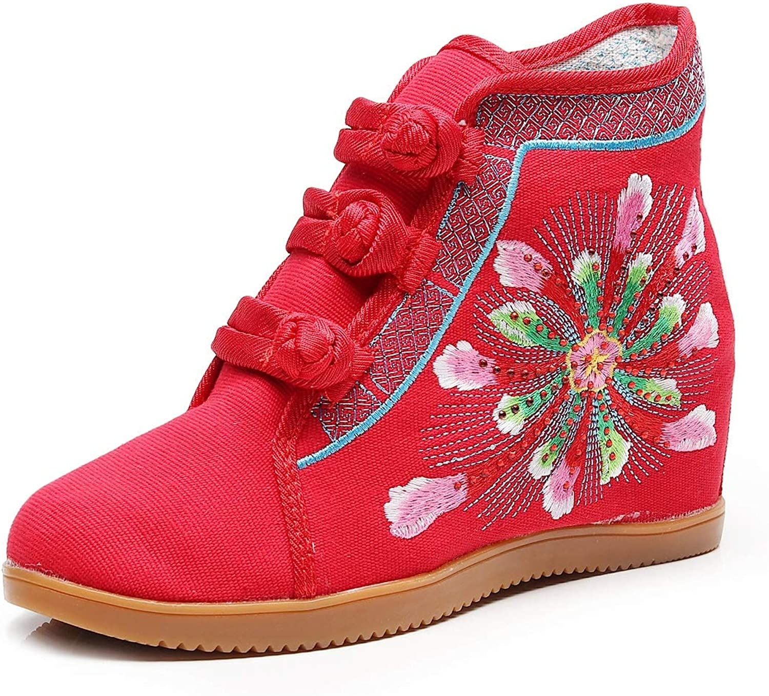 LingGT Women's Red Boots Canvas Embroidery Flower Ankle shoes (color   Red, Size   CA 5)