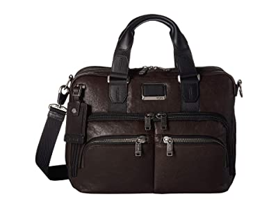 Tumi Alpha Bravo Albany Slim Center Brief (Dark Brown) Briefcase Bags